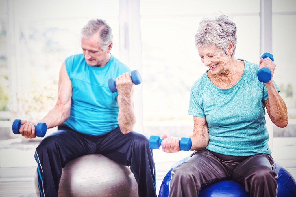 Senior couple exercising