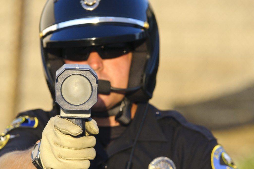 Police gun with laser gun