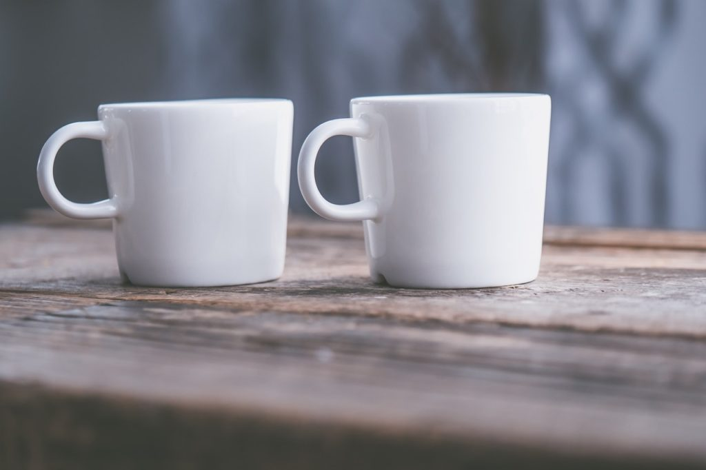 two white cups